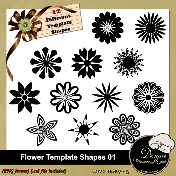 Flower Shapes Templates 01 by Boop Desgins