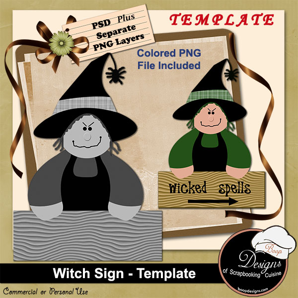 Witch Sign TEMPLATE by Boop Designs